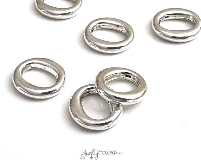 13mm Oval Links, Oval Rings, Jewelry Connector, 13x12x3mm Oval Loops, Antique Silver Pewter, Lot Size 12 to 30, #1355
