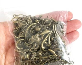 Bulk Charms, Antique Bronze Charm Collection, 100 Grams, Assorted Pairs, Nickel Free, Lead Free, Cadmium Free