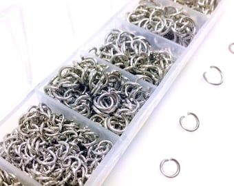 Stainless Steel Jump Ring Kit, 1410 Pieces, Assorted Sizes, 4mm to 10mm Outside Dimension, Non-Tarnish, Hypoallergenic JRK 5MC 5MO