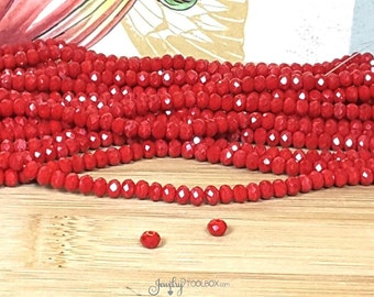 DARK RED Crystal Rondelle Beads, 80 Beads Opaque Red Beads Faceted Glass Abacus Beads, 4x3mm, Hole 1mm, #0403 DR