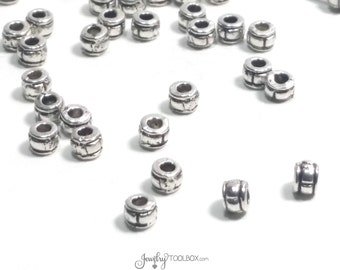 Barrel Spacer Beads, Metal Beads, Antique Silver Pewter, 2x3mm, 1mm Hole, Lot Size 50 or 200, #1077 B