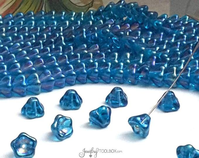 Luster Iris Teal Bell Flower Beads, 8x6mm, Czech Glass Beads, Flower Bead Cap, Bellflower Beads, Lot Size 25 Beads, #213