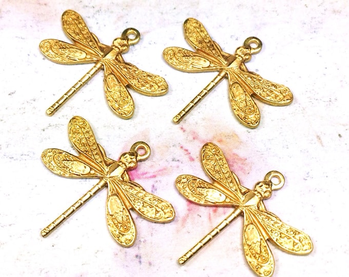 Dragonfly Charms, Pendant, 16x17mm, 1 Loop, Raw Brass, Small, Made in the USA, Lead Free, Nickel Free, Lot Size 6 to 20, #01R