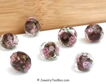 Burgundy Crystal Beads, Crystal Flower Inside Beads, Faceted Crystal Rondelles, Rose Flower Inlay Beads, 11x9mm, Hole 2mm, Lot Size 6 to  14