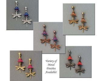 DIY Jewelry Making Kit, Brass Dragonfly Earrings with Lucite Bell Flowers and Crystal Beads, Choose 5 Pair Assortment or One Pair, #394