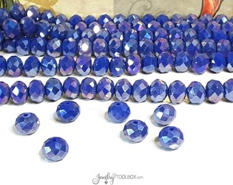 ROYAL BLUE Crystal Rondelle Beads, Opaque Blue Faceted Glass Abacus Beads, 10x7mm, Hole 1mm, Lot Size 10 to 36 Bds, #1007 RB