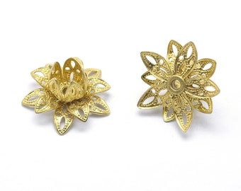 Brass Bead Caps, Filigree Flower, Multiple Layer Flower, Bendable, Moldable, Vintage Look, 2mm Hole, Lot Size 10 to 40, #2054 RB
