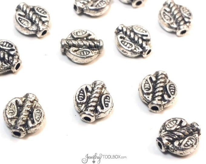 Flat Oval Beads, Fancy Metal Beads, Antique Silver Pewter, Double Sided, 8x9mm, 1mm Hole, Lot Size 10 to 50, #1338