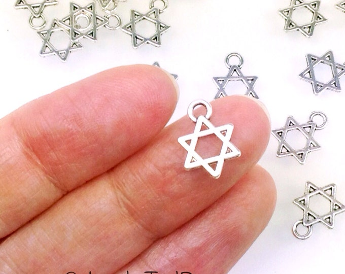 Star of David Charms, 50 Pieces Pendants, Double Sided, Antique Silver Pewter, 13x9mm, Lead Free, #1201