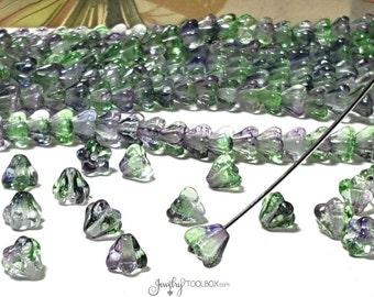 Blueberry Green Baby Bell Beads, Dual Coated Czech Glass Baby Bellflower Bead Cap, Czech Glass Beads, 4x6mm, Lot Size 50 Beads, #4021