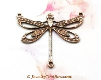 Antique Copper Filigree Dragonfly Necklace Connector, 22x25mm, 3 Loops, Brass Stamping, Large, Made in the USA, Lot Sizes 4 to 10, #10C