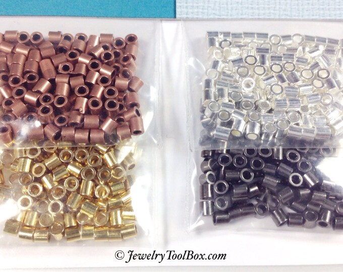 Crimp Bead Tubes, Assorted Colors, 500 Pieces, 2x2mm, Copper, Silver, Gold, Black Finish, xx 41