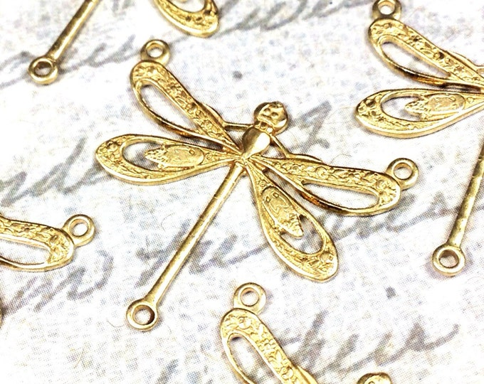 Filigree Dragonfly Necklace Connector, 22x25mm, 3 Loops, Raw Brass, Large, Made in the USA, Lead Free, Nickel Free, Lot Size 6 to 20, #10R