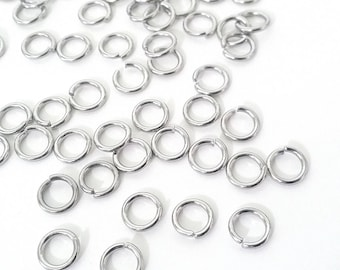 Extra Heavy Duty Jump Rings, 8mm, 9mm or 10mm  diameter, 15 gauge, 1.5mm, Stainless Steel Jump Rings, Closed Unsoldered, 100 Pieces
