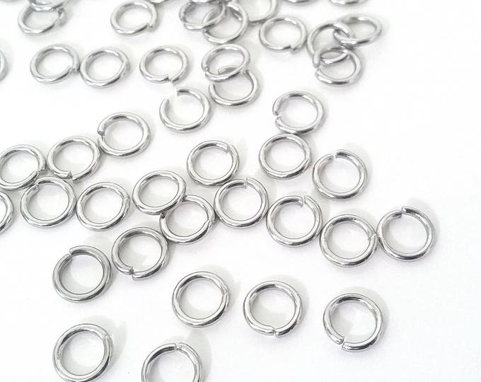 Extra Heavy Duty Jump Rings, 100 Pieces, 8mm, 9mm or 10mm  diameter, 15 gauge, 1.5mm, Stainless Steel Jump Rings, Closed Unsoldered