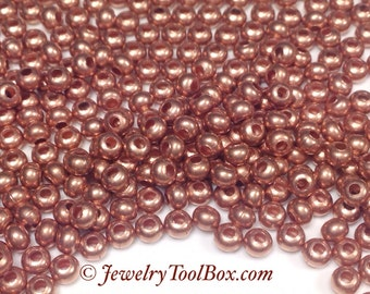 Metal Seed Beads, 8/0, Size 8, MATTE COPPER Plated, 2x3mm, Brass Spacers, Made in the USA, Lead Free, Lot Size 36 grams, #1431