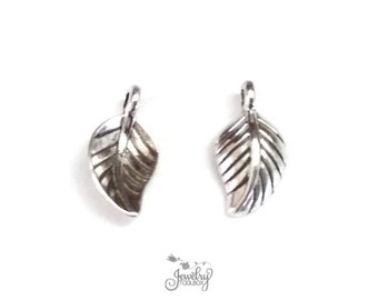 Leaf Charms, Tiny Drops, Antique Silver, Nickel Free, Lead Free, 14x7x2.5mm, 1.5mm Loop, Lot Size 30 to 100, #2165