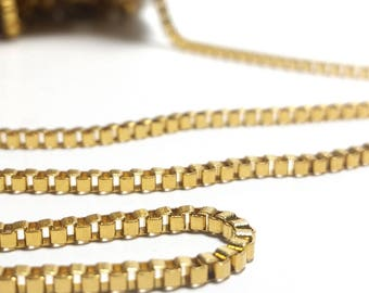 Box Chain, Gold Stainless Steel, 2mm, Lot Size 2 to 20 feet, #1953 G