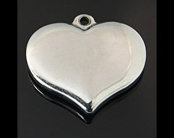 Heart Pendant Finding, Stainless Steel Stamping Blanks, Silver Tone, 17x16x2.5mm, Hypoallergenic, Non Tarnish, Lot Size 2 to 10, #1832