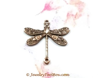 Brass Dragonfly, Antique Copper Dragonfly Pendant Charms Connector, 18x17mm, 2 Loops, Small, Made in the USA, Lot Size 4 to 24 Bulk, #02C