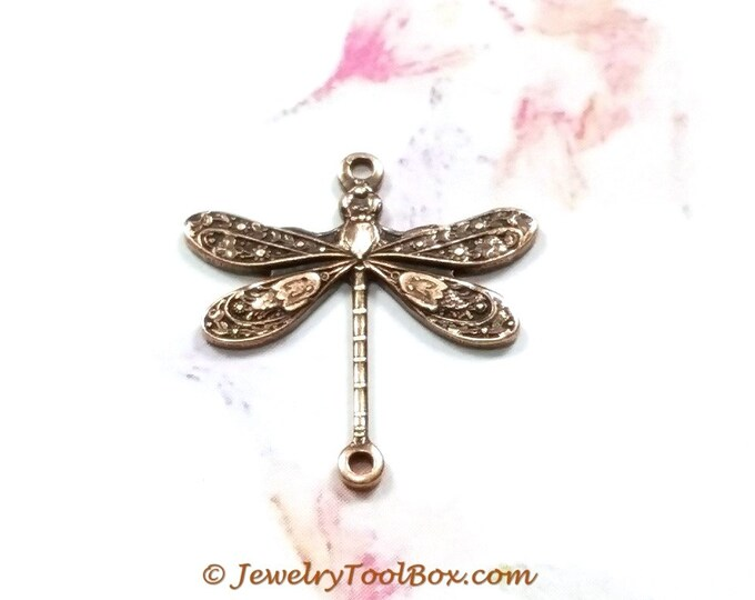 Brass Dragonfly, Antique Copper Dragonfly Pendant Charms Connector, 18x17mm, 2 Loops, Small, Made in the USA, Lot Size 6 to 20, #02C