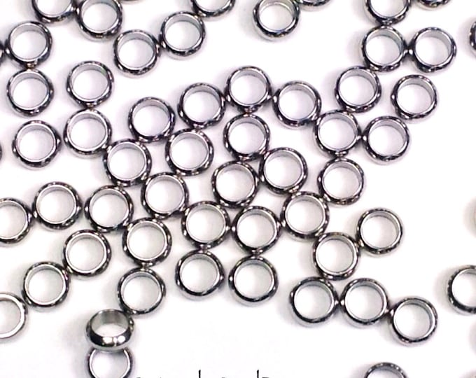 Stainless Steel Rings, Big Hole Bead Links, 5x2mm, 3mm Hole, Charm Bracelet Links, Bracelet Connector, Lot Size 20 to 50, #1452