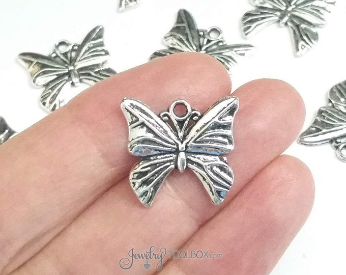 Butterfly Charms, 30 Pieces, Silver Butterfly Pendants, Antiqued Pewter, 18x19mm, Lead Free, Cadmium Free, #1035 BY
