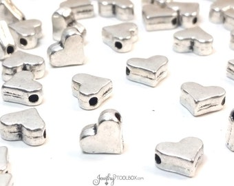 Heart Beads, Silver Hearts, Bulk Metal Bead Findings, Decorative Spacer Beads, Pewter Beads, 7x6mm, 1mm Hole,Lot Size 25 to 60, #1333