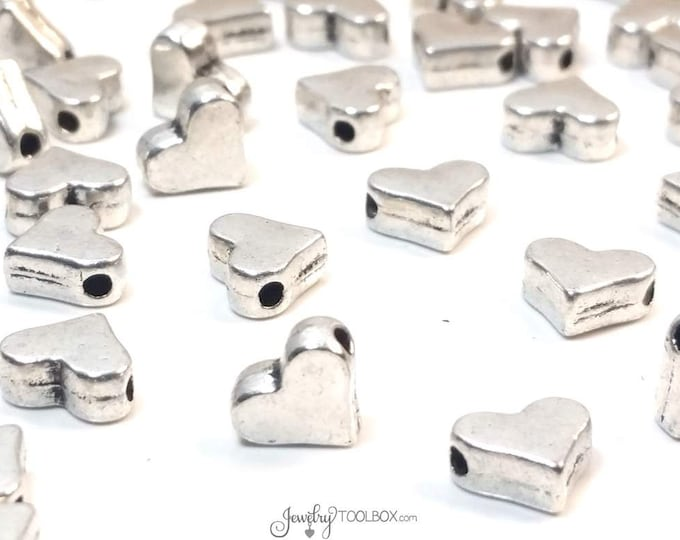 Heart Beads, Antique Silver Hearts, Decorative Spacer Beads, Pewter Beads, 7x6mm, 1mm Hole,Lot Size 25 to 100, #1333