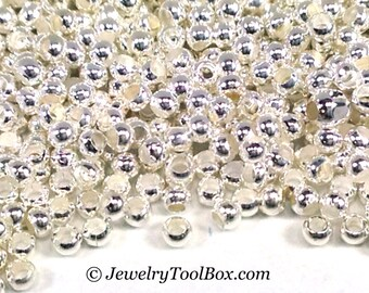 15/0 Seed Beads, Metal, Size 15, SILVER Plated, 1x1.5mm, Brass Spacers, Made in the USA, Lead Free, Lot Size 17 grams, #1462