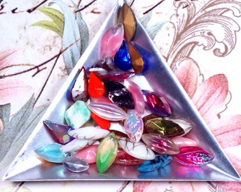 SALE! Vintage Gem Assortment of Navettes, 40 Pieces, Cabochons, some Scalloped, some Two Color, 40 assorted Gems
