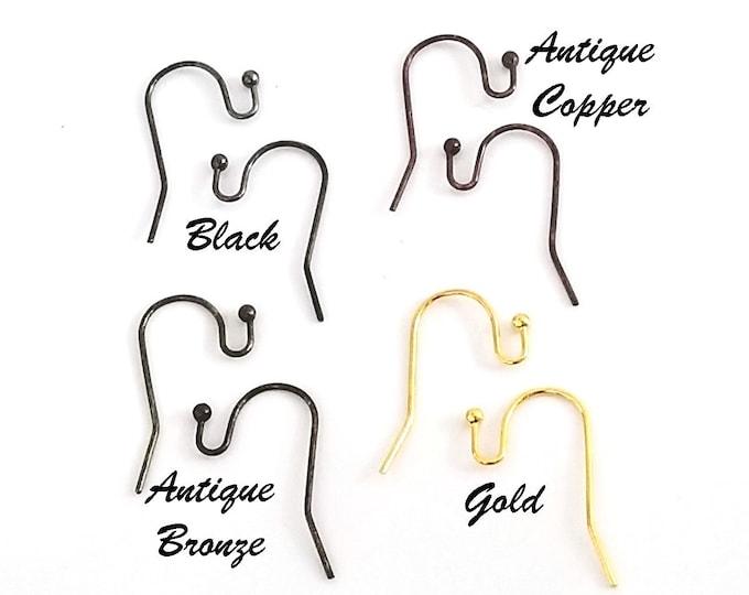 Brass Earring Hooks, Black, Gold, Antique Copper, Antique Bronze, Lead Free, Lot Size Approx 100 Ear Wires (14 grams) #1348