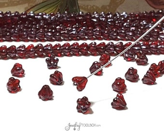 Siam Ruby Bellflower Beads,  Ruby Czech Glass Bead Cap, Siam Ruby Bell Flower Beads, 4x6mm Flower, Lot Size 50 Beads, #4008
