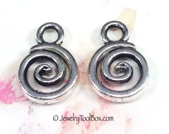 Drops, Spiral Charms, Pewter, Antique Silver Tone, Lead Free, 11x8mm, Lot Size 20 to 50, #1130