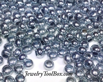 6/0 Seed Beads, Metal, Size 6, ZINC Plated, 3x4mm, Brass Spacer Beads, Made in the USA, Lead Free, Lot Size 28 grams, #1406