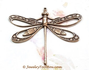 Antique Copper Dragonfly Pendant, Brass Filigree Stamping, Extra Large, 42x50mm, Lead Free, Nickel Free, 1 to 20 Pieces, #11C