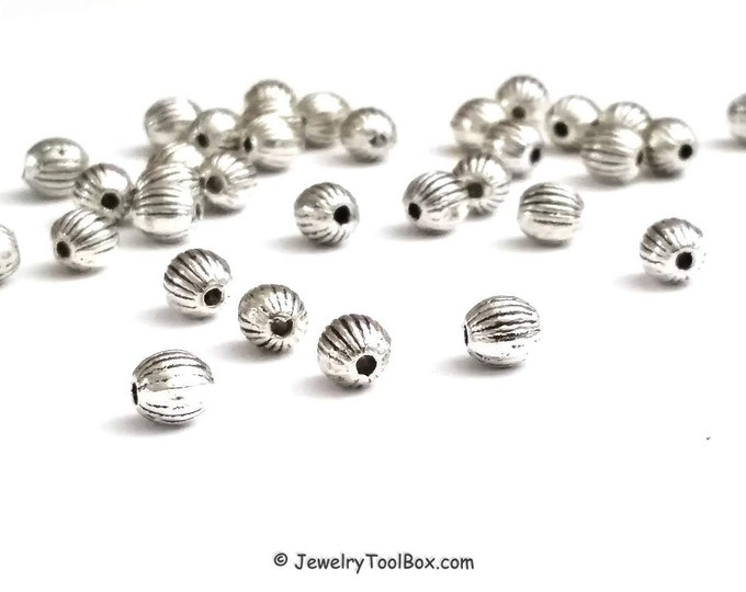 5mm Beads, 50 Pieces Round Corrugated Metal Beads, Antique Silver Pewter Spacers, 1mm Hole, Lead Free, #1080 B RD