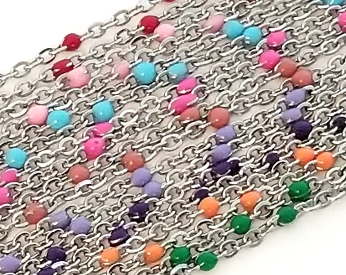 Stainless Enamel Satellite Chains, 18 Inches (approx), 2mm Stations, Lot Size 1 to 5,  #99X