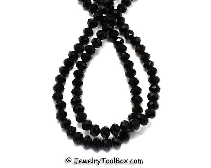 BLACK Crystal Rondelles, Faceted Glass Abacus Beads, 16 to 24 inch Strands, Choose Bead Size 6x4mm, 8x6mm, 10x7mm, 12x8mm, Hole 1mm