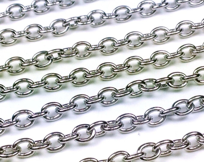 Stainless Steel Jewelry Chain, Hypoallergenic, 304 Stainless, 4x5mm Oval Open Links, Lot Size 4 to 20 Feet #1907