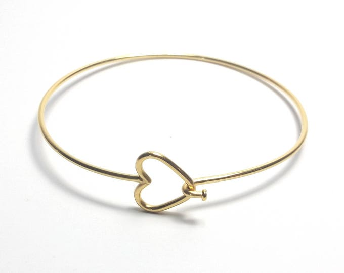 Gold Heart Bracelet, Stainless Steel Bangle, Jewelry Making Supplies, 60mm diameter (less than about 2-1/2 inches), #1805 G