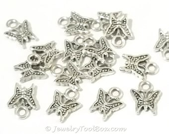 Tiny Butterfly Charms, Antique Silver Pewter, Double Sided, 11x9mm, Lot Size 50, #1287 BY