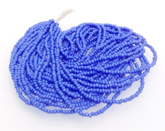 True Cut Seed Beads, Blue Charlottes, Opaque, Size 13, Full Hank, 12 Strands, Vintage