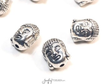 Metal Buddha Beads, Tibet Spiritual Beads, Antique Silver Pewter, 3D Double Sided, 11x9mm, 2mm Hole, Lot Size 4 to 20, #1336