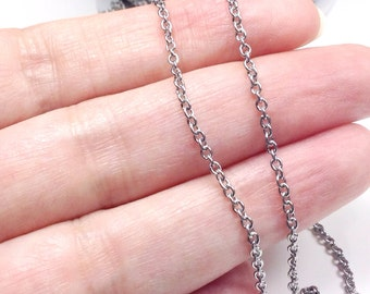 Fine Jewelry Chain, Bulk, Stainless Steel Chain, Grade 316, Soldered Closed Links, 4 to 20 feet, 2x2x0.5mm, #1913