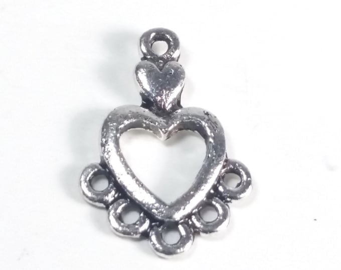 Heart Chandelier Earring Finding, Multi Strand Connector, 1 to 5 strands, Antique Silver, 19x13.5mm, 1 to 5 Loops, Lot Size 18 to 50, #1540
