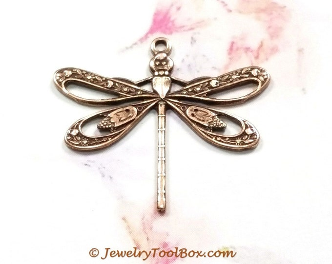 Antique Copper Filigree Dragonfly Charm Pendants, Brass Stamping, 21x24mm, 1 Loop, Large, Lot Size 6 to 20, #08C