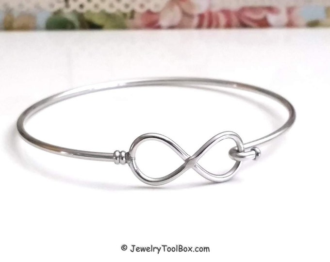 Infinity Bangle Bracelet, Stainless Steel Bracelet, Charm Bracelet Finding, Jewelry Making Supplies, 60mm diameter, 2mm thick approx., #1801