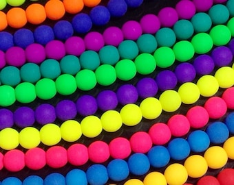 10mm Neon Glass Beads, Round, UV Active Glow, Matte Finish, Czech, Choose from 12 Colors, 16 Beads per Strand, #2010