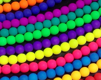 Matte Neon Czech Glass Beads, 6mm Round, UV Active Glow, Matte Finish, Czech, Choose from 12 Colors, 26 Beads per Strand, #2006